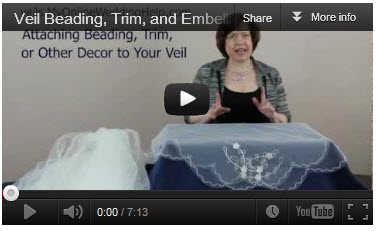 Beading, trim, and other embellishments for veils.