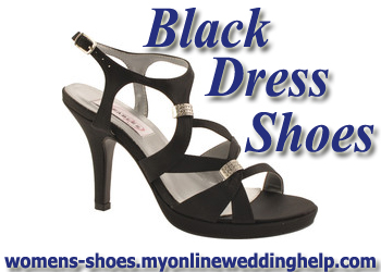 Black dress and wedding shoes.
