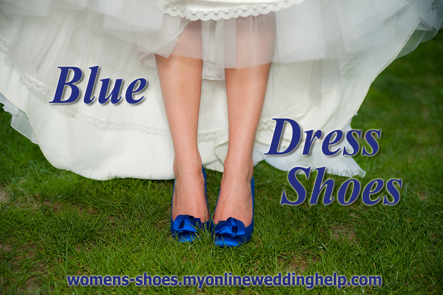 Blue wedding and dress shoes.