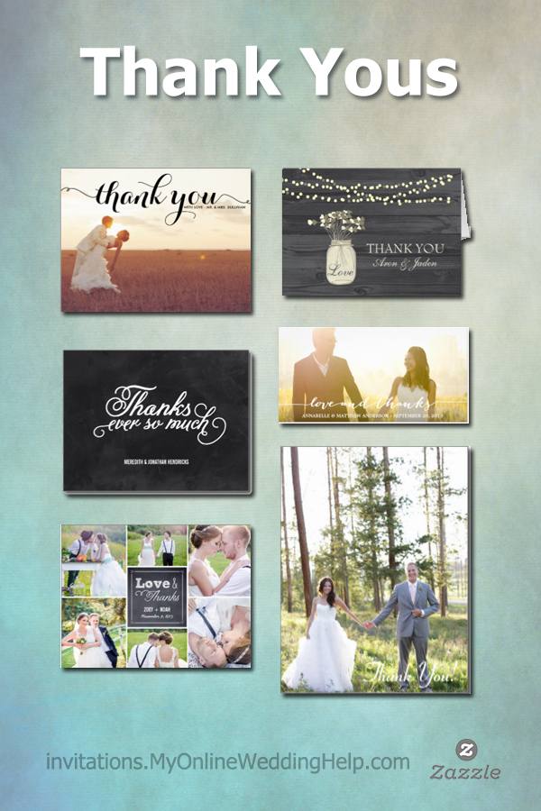 Inexpensive wedding thank you cards--a lot of custom photo options, but other styles too ... rustic, etc. #MyOnlineWeddingHelp