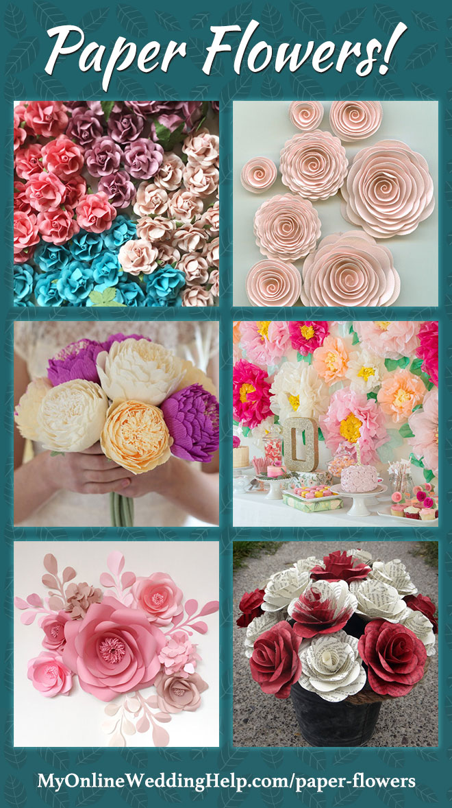 Paper flowers can add permanent (and affordable) beauty to decor. These are some examples of different types. Little roses, spiral style, paper peonies, huge tissue paper flowers, as an artistic backdrop, and book pages roses. There are links to each of these on the page (Scroll down to More Paper Flower Designs).