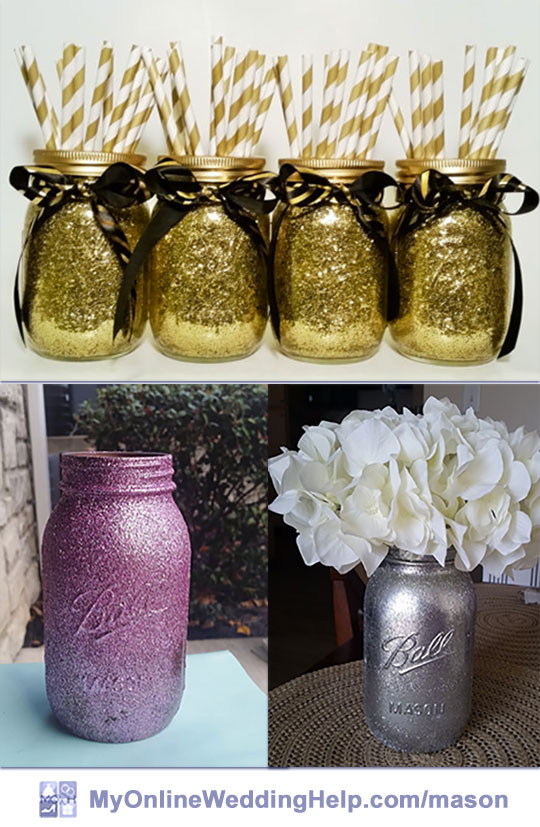 Glitter mason jar centerpieces for weddings. Glitter is an easy way to create bling. There are ways to make it stay on the jar without shedding shiny flecks everywhere, too.