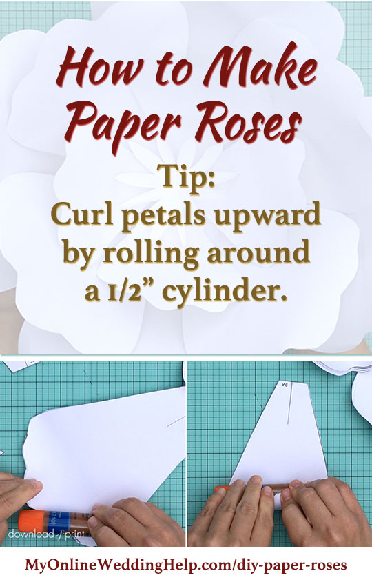 How to make paper roses tip: Curl petals downward by rolling the ends around a cylinder about the size of a glue stick. Roll from different angles to get the same effect as real petals on an open rose. There are step by step instuctions, plus a link to this template, on the page.