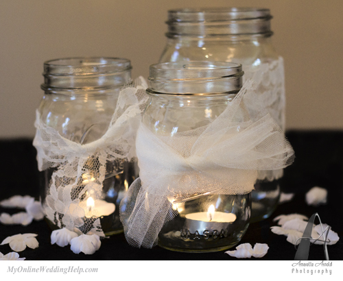 Tulle and lace on mason jars centerpiece