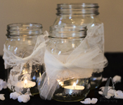 mason jar decoration--lace and tea lights