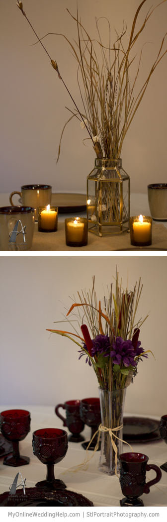 Rustic centerpieces with dried grass and cattails.