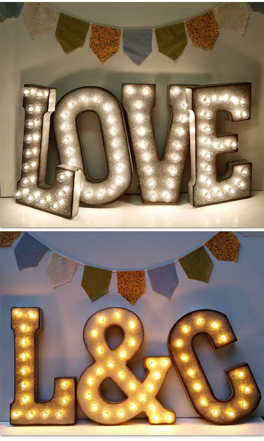 Lit initials or words like love can make a big impact on the wedding decorations. These rustic wedding lights are made from galvanized metal finished to give a raw, vintage look. Scroll to number 12 on the page.