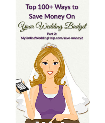 How to save money on your wedding budget. Part two of three covers budget wedding ideas for beverages, cake and dessert, flowers, centerpieces, photos and video, beauty items, and the band.