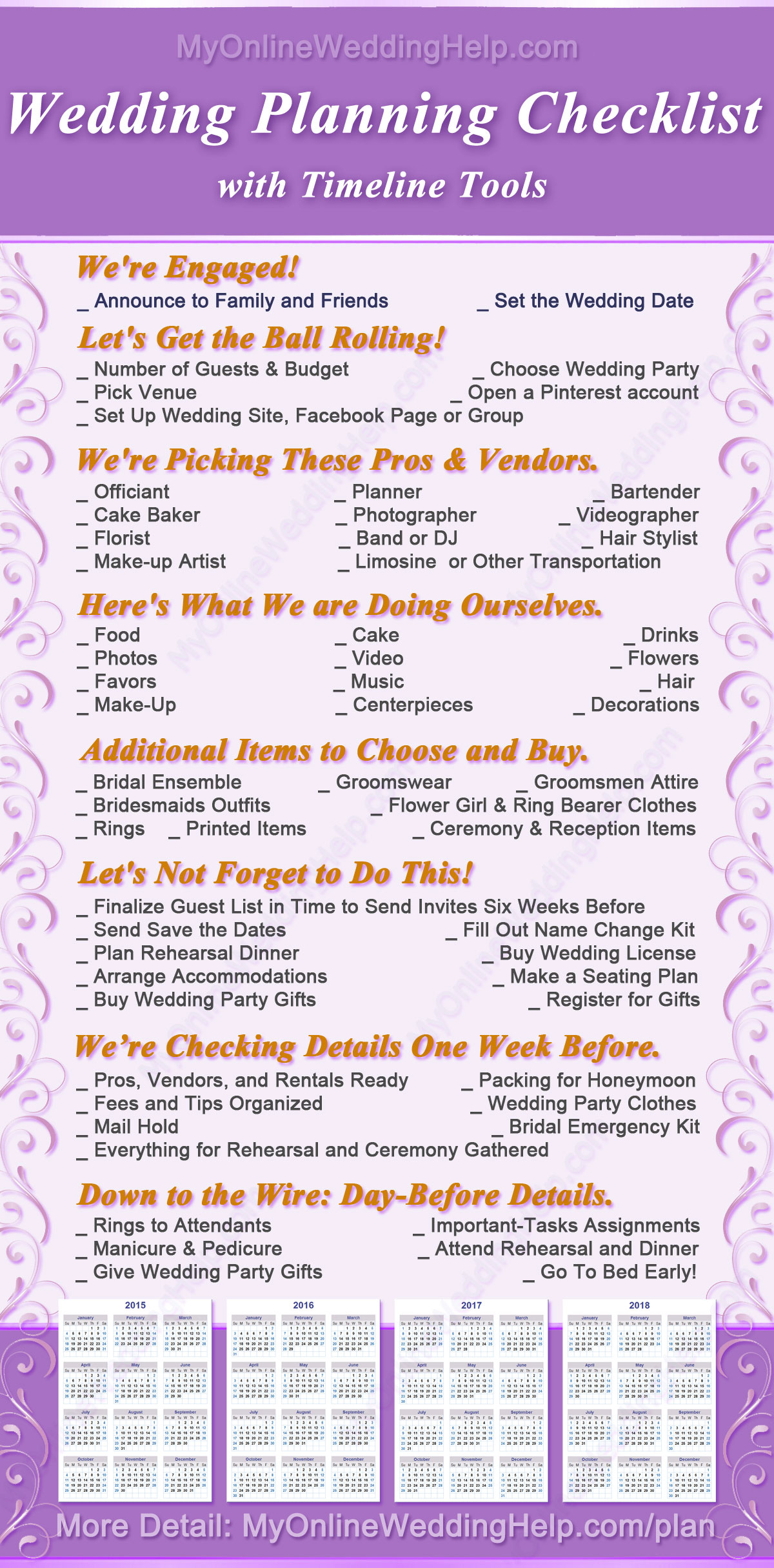 free wedding plan checklist with monthly and yearly
