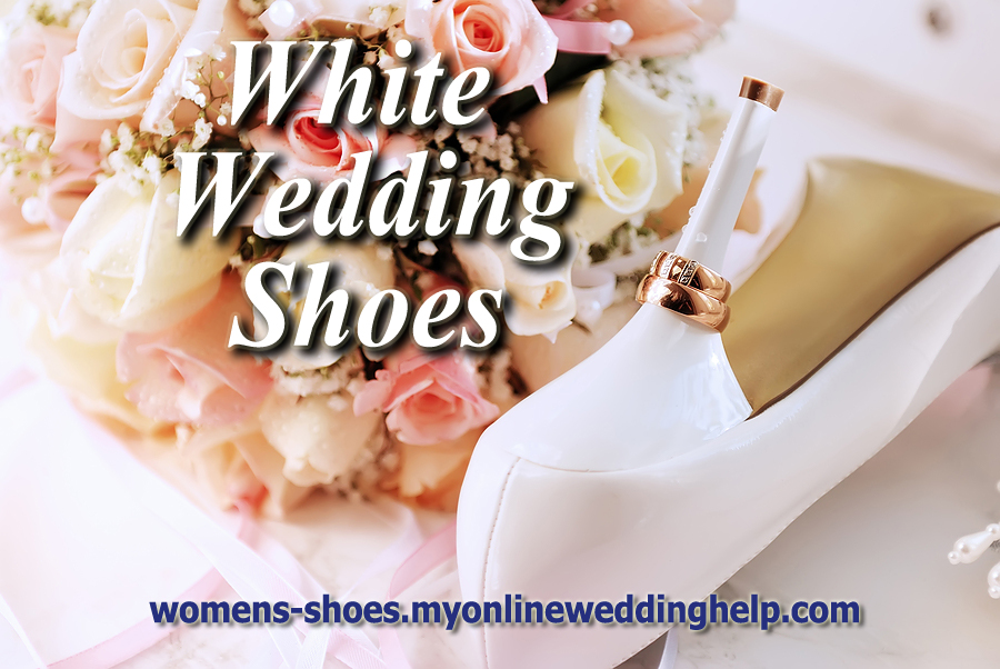 White wedding shoes.