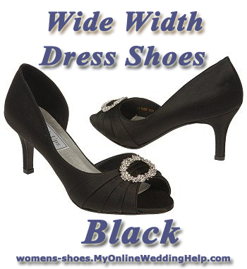 Wide Width Wedding Shoes in Black