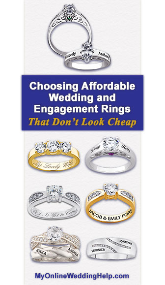 Tips for choosing an inexpensive wedding or engagement ring that looks like you paid more than you actually did. Metals, stone, design, etc.