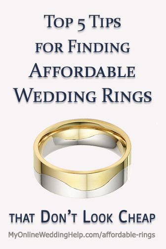 Tips for finding affordable wedding rings that don't look like cheap. Ideas for finding in style, cheap engagement rings, wedding bands, and wedding sets on a budget.