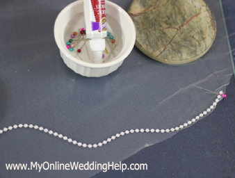 Making a Veil Step 3: Applying edging and other decorations.