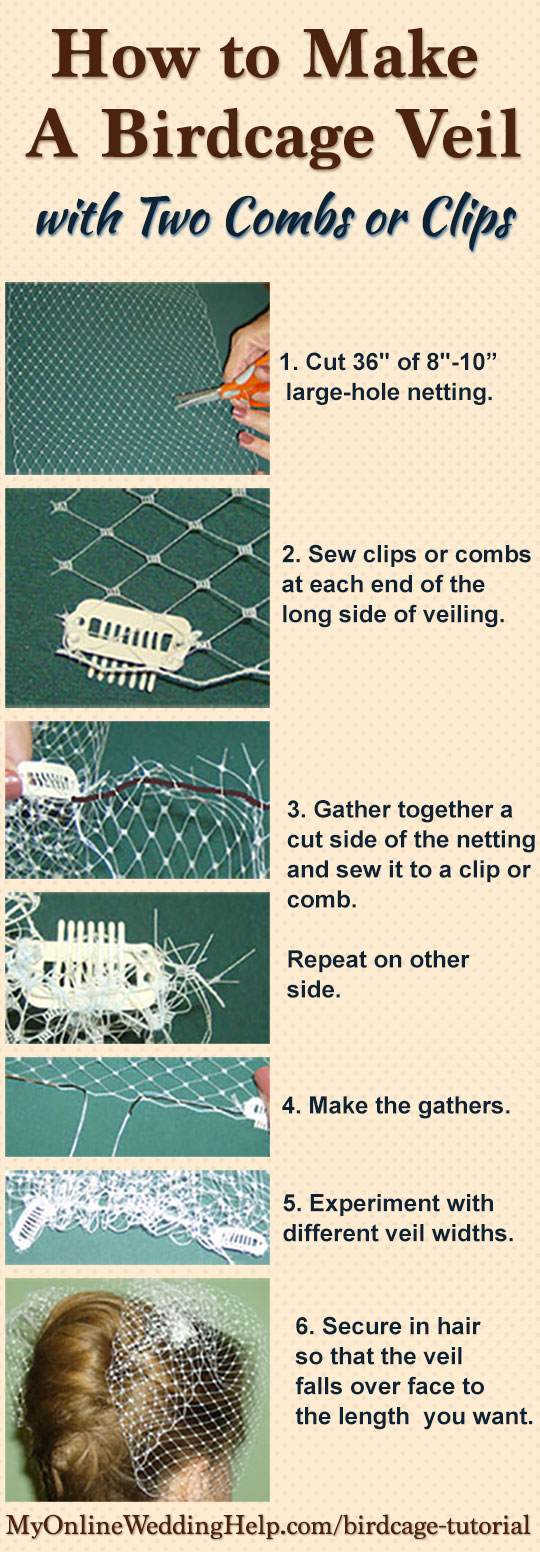 How to make a birdcage veil with two combs, bandeau style. There are some examples of other kinds of birdcage veils, too.