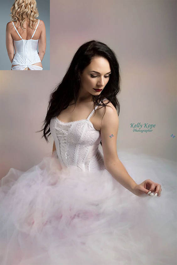 Foundation garments under a wedding gown can make a difference. A good bridal corset actually does double duty. It helps the wedding gown look its best for the ceremony and doubles as lingerie that evening. There is a link on the page to purchase this one. #BridalCorset #WeddingCorset #WeddingGown #Bride #BoudoirWedding #CorsetLingerie
