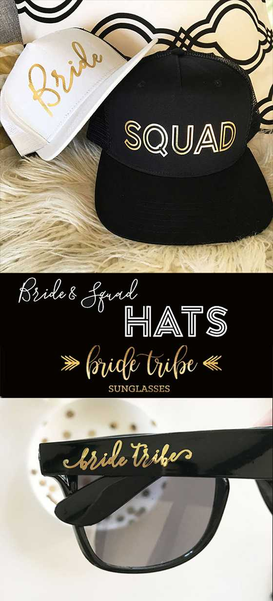 Anytime the bridal party is out together in the daytime you need some bride tribe protection. Bride squad hats will help keep them cool on a sunny day and bride tribe sunglasses cut down on glare and look rad. There are links to these on the page. Scroll down to #10 and #11.