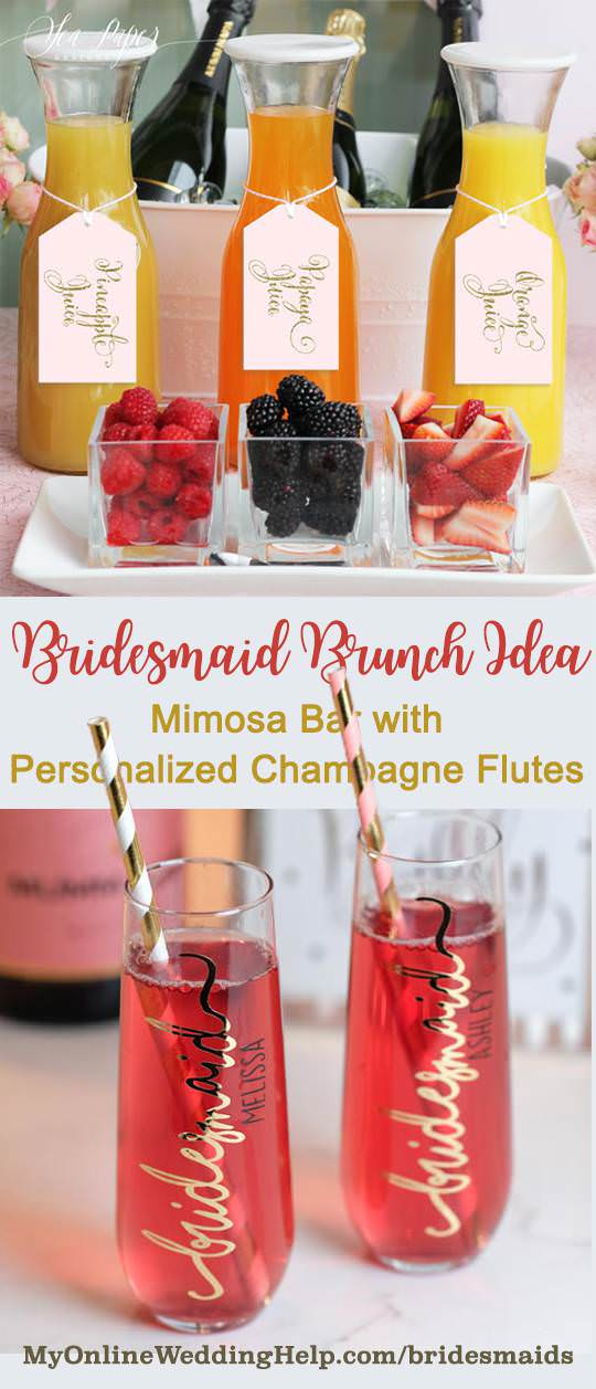 Bridesmaids idea for brides: have a brunch for the girls to get to know each other better, or a brunch as an ask party. The customized champagne flutes are perfect gifts and hold the perfect mimosa. The tags on the juice bottles are a digital download for you to print yourself. There are links to both on the page. Scroll to #12 and #13.