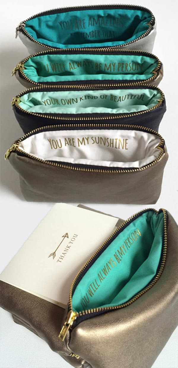 Custom message makeup bags as bridesmaids gifts. They are leather with silver or gold metallic or other colors. Choose the inside to be your wedding colors. Elegant Country Rustic Wedding Ideas number 6. #PersonalizedBags #BridesmaidGift #WeddingGifts #MyOnlineWeddingHelp