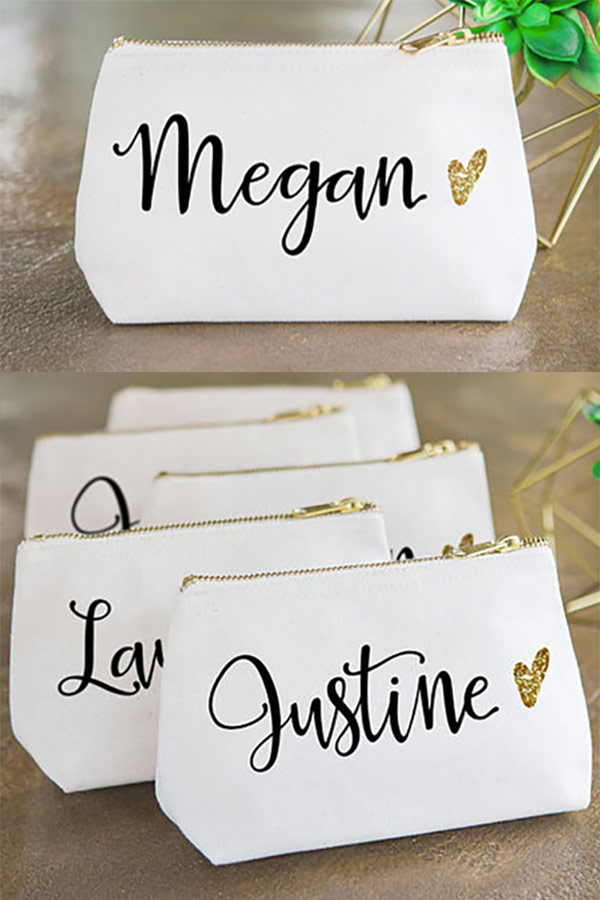 Bridesmaid Personalized Canvas Makeup Bags. Have these each customized with a bridesmaid's name. Gold glitter heart as well! Elegant Country Rustic Wedding Ideas number 6. #BridesmaidGift #PersonalizedBags #WeddingGifts #MyOnlineWeddingHelp