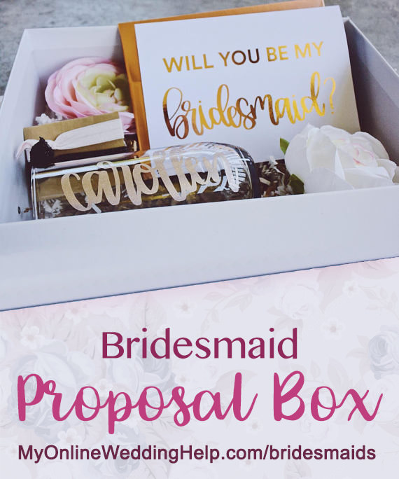 This bridesmaid proposal box comes already personalized and finished for you so all you need to do is order it then give as you ask the girls. Taylor hand letters everything in it. The personalized stemless champagne glass / tumbler and box lid have the bridesmaid name on it. There's a link on the page. Scroll down to #2.