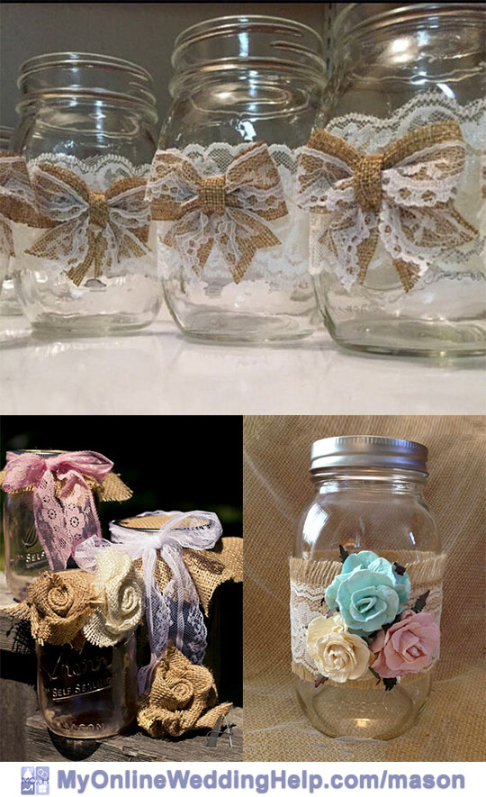 Burlap and lace mason jar centerpieces. Love the lace paired with burlap before creating the bows on top one. Burlap or fabric roses are another idea.