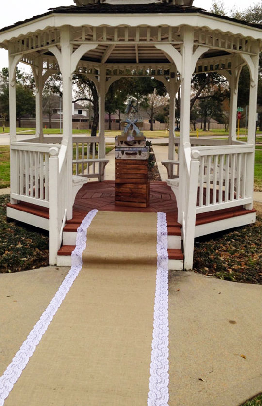 Burlap and lace rustic elegant wedding aisle runner. You can add a monogram, too. Scroll to number 5 on the page.