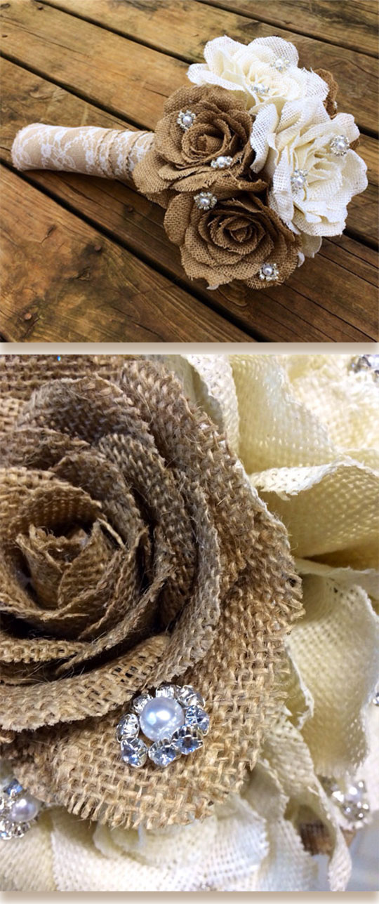 Rustic wedding bouquet make with burlap, lace, and crystal pearl jewels. Scroll to number 20 on the page.