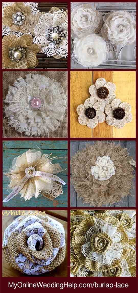 An alternative to making your own lace and burlap flowers is to have someone else make them for you. The upside is a variety of ways to incorporate burlap and lace into the decoration without having to know how. There are links to all of these on the web page.