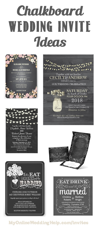 Chalkboard Style Wedding Invitation Ideas Links To A Lot Of Examples With Mason