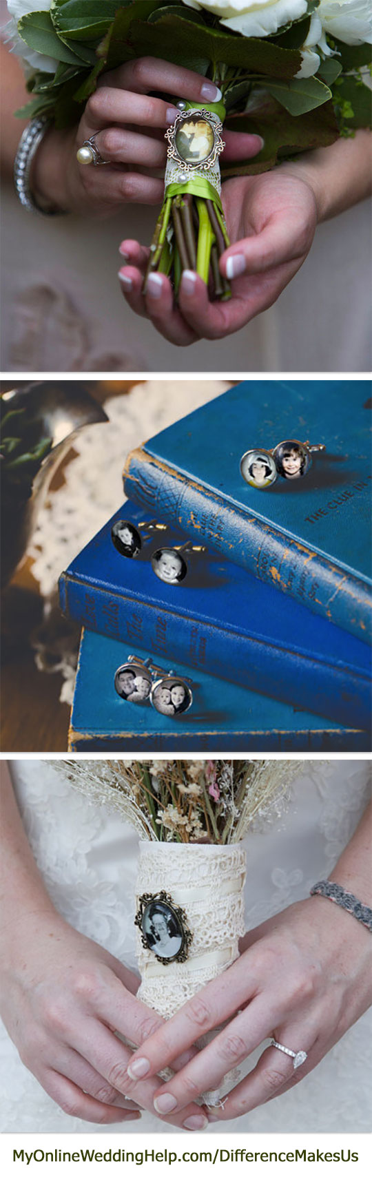 The photo cufflinks are a great idea for grooms or groomsman gift. The vintage look brooches with photos make nice bouquet handle decorations, too. #DifferenceMakesUs