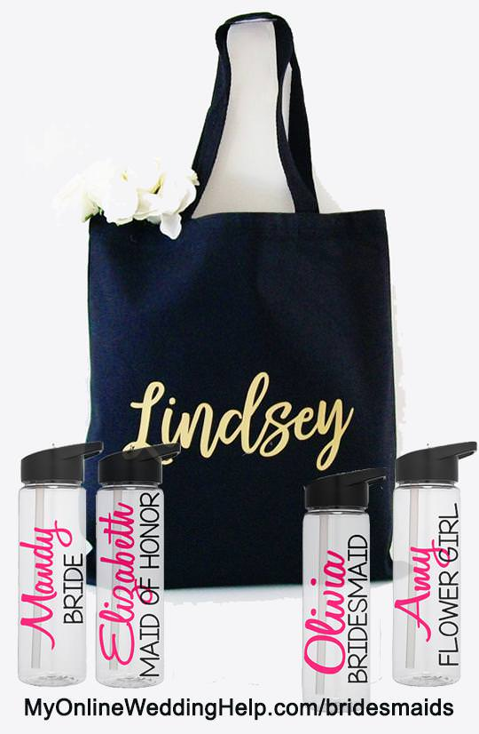 Personalized water bottles and custom bridesmaids totes. Great idea for taking along for dress shopping, looking at venues, or shoe shopping. Plus, they'll be convenient on the day of the wedding as part of each bridesmaid's emergency kit. There are links to these on the page. Scroll down to #8 and #9.