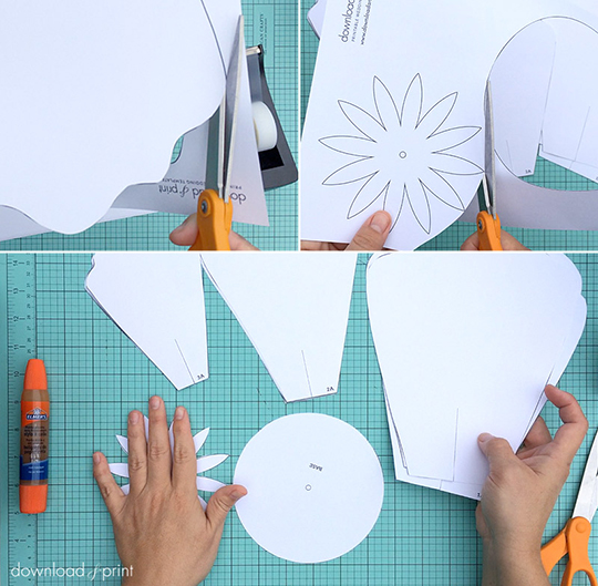 How to make large paper roses. Step 1, cut out the petals, stamen, and base from the free template.