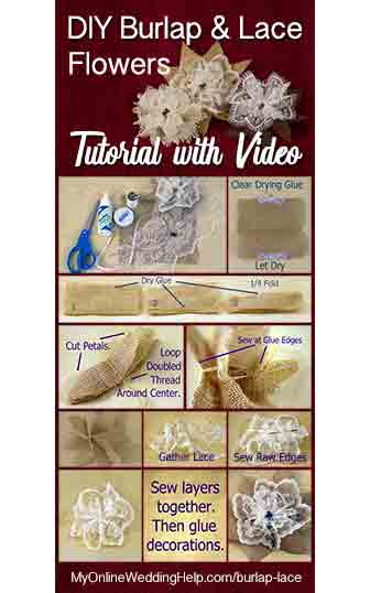 DIY burlap and lace flowers tutorial. Step by step video and written instructions on how to make your own burlap and lace flowers for a rustic wedding or other country decorations.