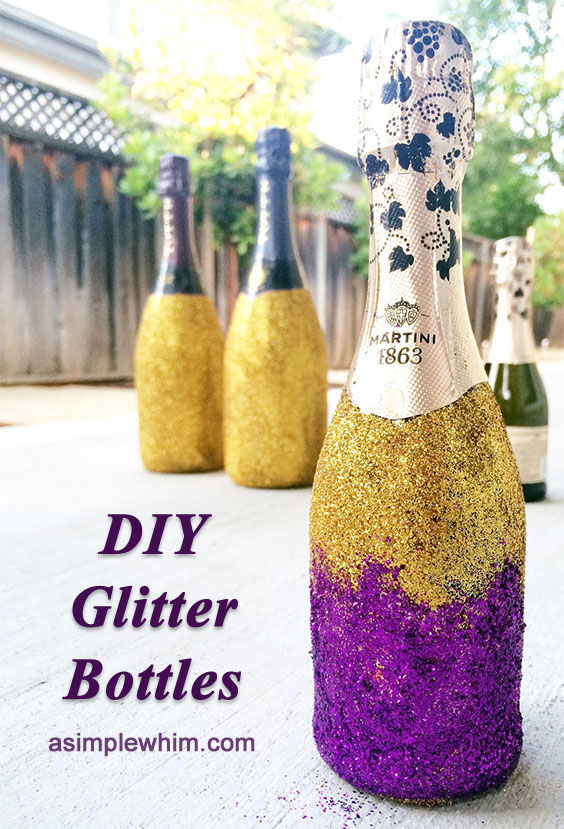 DIY glitter bottles. It shows how to make glitter champagne, but you could do the same thing with any vase, glass, or bottle. There are four other wedding on a budget DIYs, too.