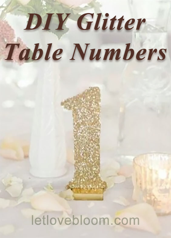 Glitter table numbers DIY. How to make these wooden gold table numbers with a little stand. There are also four other how-tos.