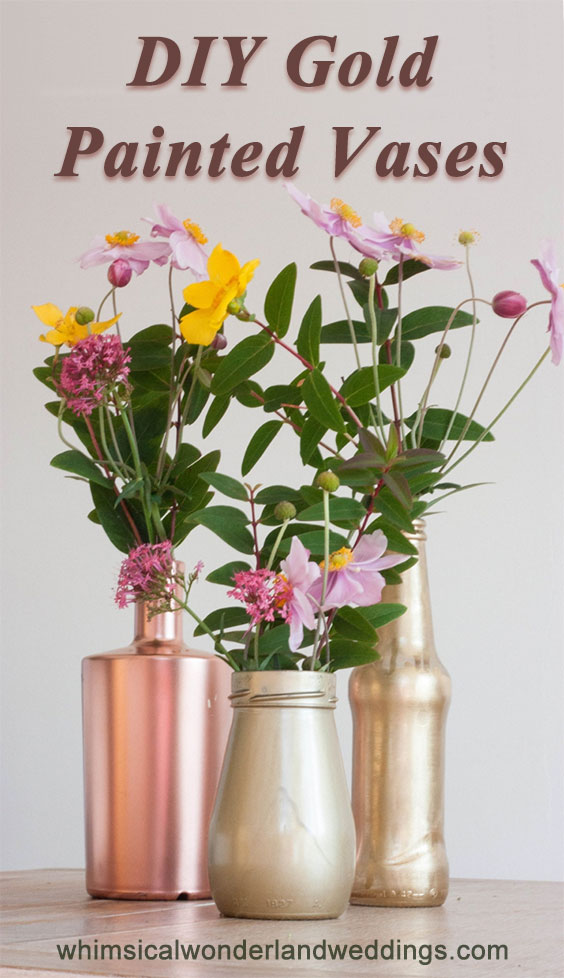Gold painted vases DIY. She uses gold paint to cover inexpensive containers like bottles and jars. Good tips for avoiding drips. There are four other gold / glitter DIYs, too.