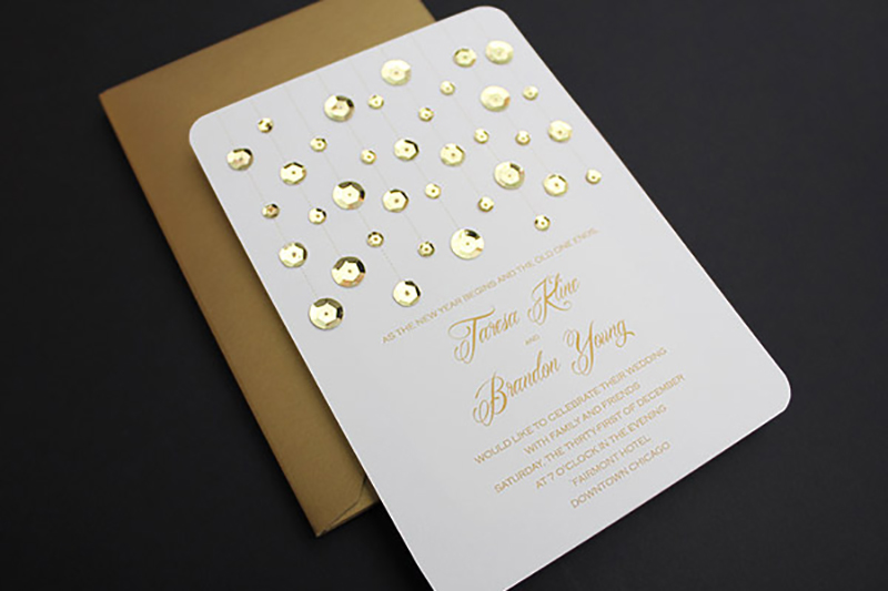 Finished DIY blinged out wedding invitation.