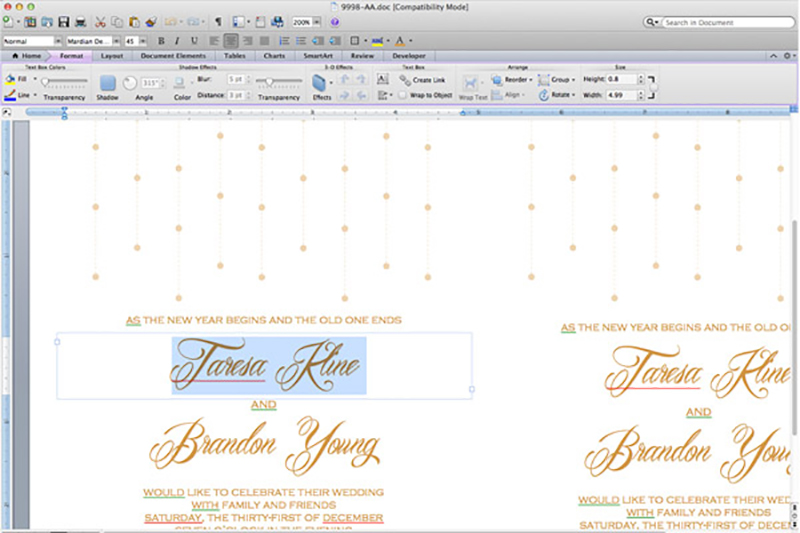 Edit the invitation template with Microsoft Word.