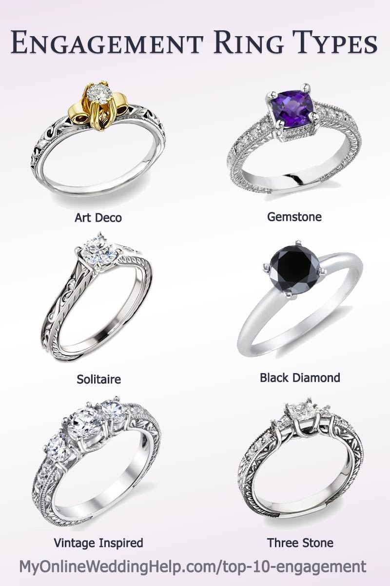 Inexpensive engagement ring ideas and alternatives. Each of these rings have real diamonds or gemstones but are more affordable than you would guess. There are links to them in the blog post. #engagementringideas #engagementringstyles #engagementrings #myonlineweddinghelp