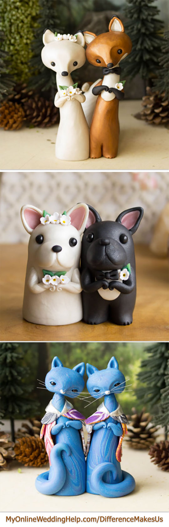 These are the cutest Etsy animal cake toppers. Love the little dog bride and groom the best. No paint used, which means they can sit right on the icing. Any of them would be good keepsake gifts, too. #DifferenceMakesUs