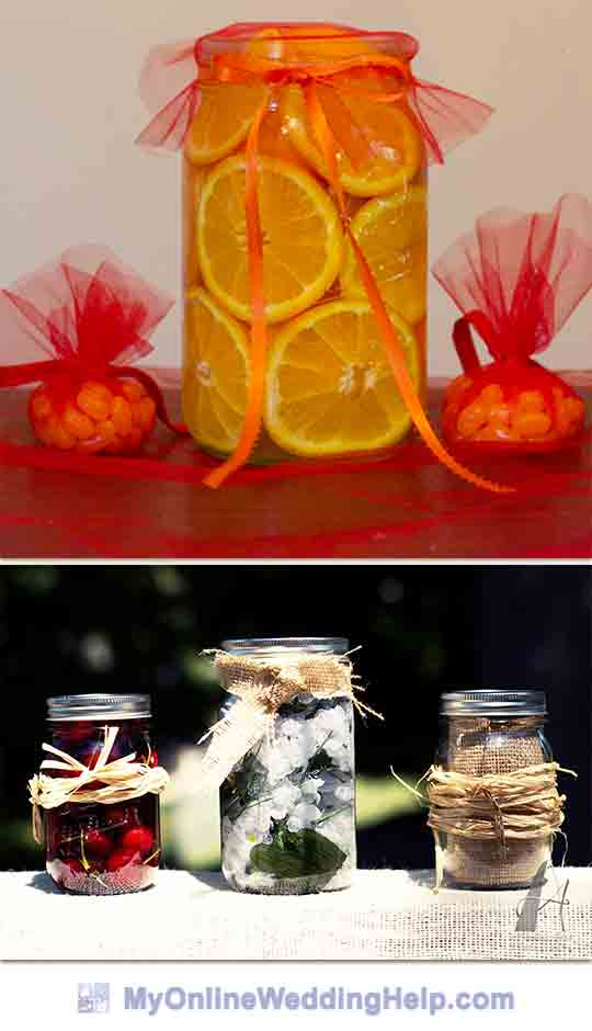 Filled mason jar centerpieces...fill with fruit, flowers, or other material. Decorate by tying ribbon, burlap, or other material around the top or outside of jar.