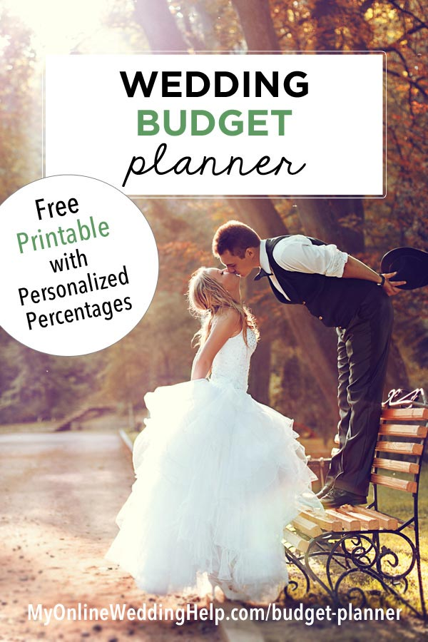 Wedding Budget Planner. Free printable with personalized percentages. Break your budget down into line items with this free wedding budget planner. Customize it to your needs and use for planning your wedding. #weddingplanning #weddingbudget #weddingplanner #myonlineweddinghelp