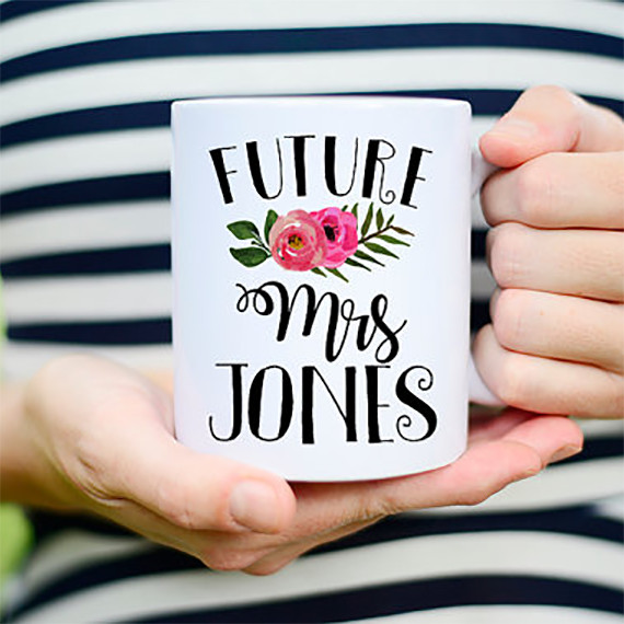Future Mrs. personalized engagement mug.