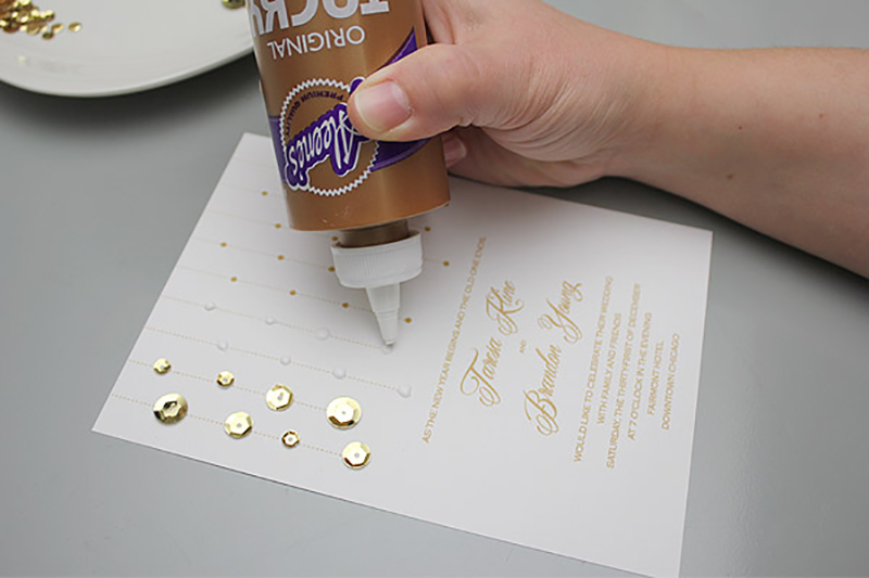 Add bling by gluing different sized sequins or rhinestones onto the invitation template.
