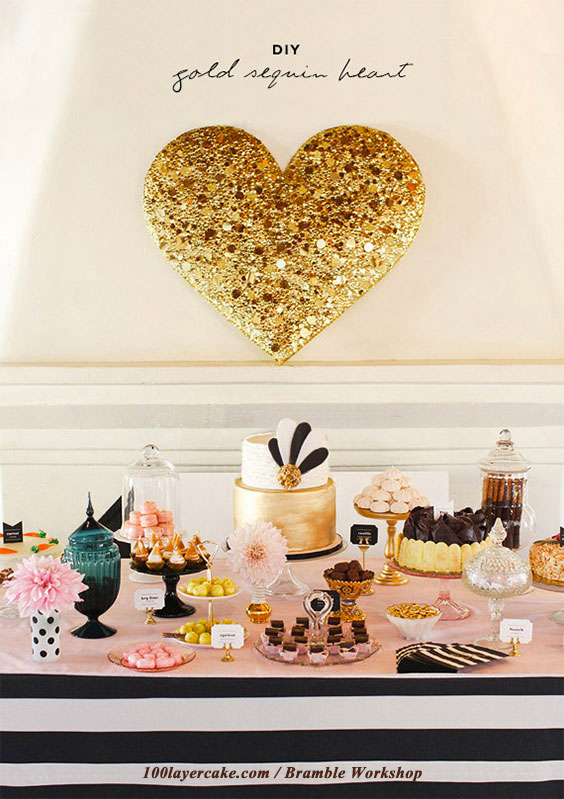 DIY heart decoration tutorial. LOVE this big gold heart. There are step-by-steps on how to do this for very cheap. Four other glittery or gold projects, too.