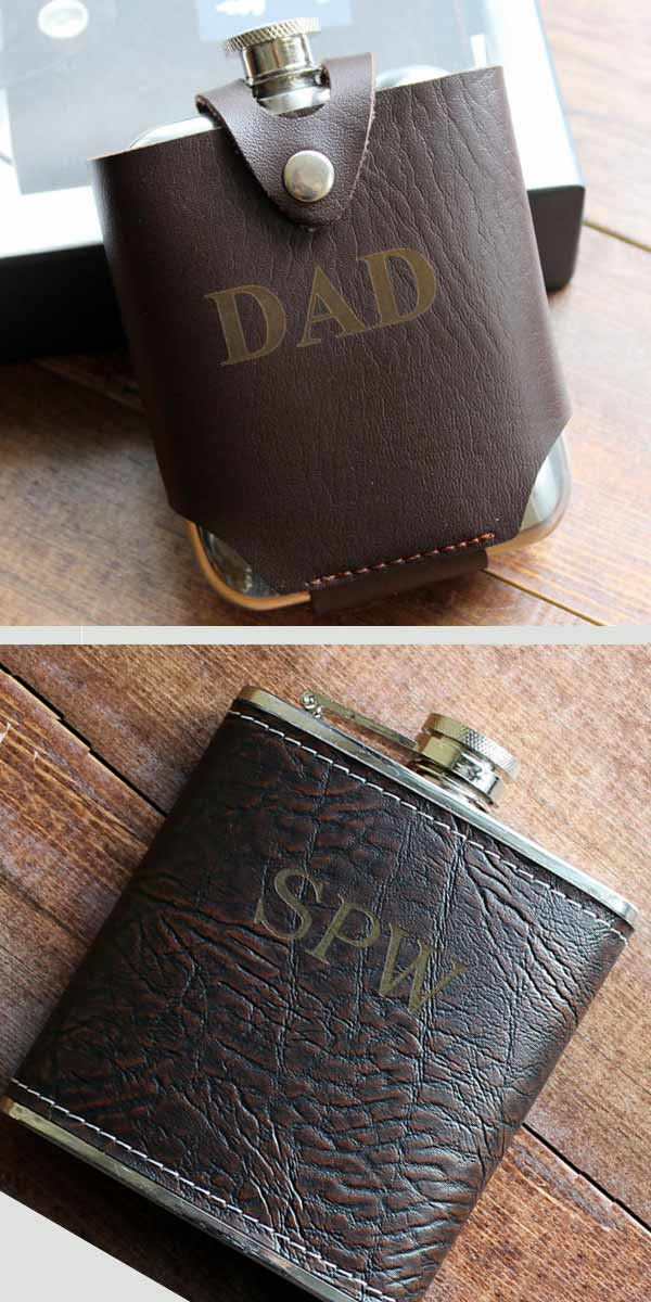 Groomsmen Gifts Idea: Personalized Leather Flasks. Handmade by Jake. Engraved flask, leather sheath, or both. Elegant Country Rustic Wedding Ideas number 5. #groomsmengifts #rusticweddingideas #MyOnlineWeddingHelp #countrywedding #weddingpartygifts