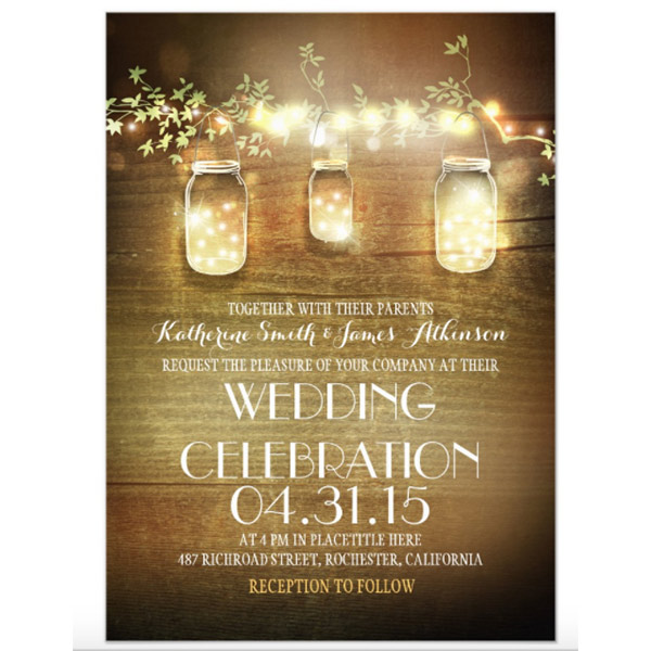 These mason jar wedding cards reflect a popular farm wedding detail, hanging mason jar lights. The twinkle string lights seem to actually glow. There is a link to buy these and a whole invitation suite (if you want to) in the blog post. Look under number 7. #RusticWeddingInvitations #MasonJarWedding #WeddingInvitationsIdea #FarmWedding #CountryWedding