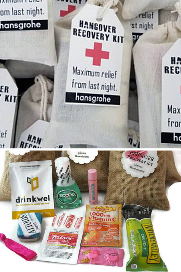 Wedding Hangover Survival Bags Kit. Lisa completely assembles these hangover kits for you with plenty of goodies and first aid items. Order them with your personalized tag. Also, you can get cotton or burlap bags. You can use these hangover bags as bachelorette or bachelor party necessities and wedding guest favors. #burlapwedding #MyOnlineWeddingHelp #countrywedding #weddingfavors