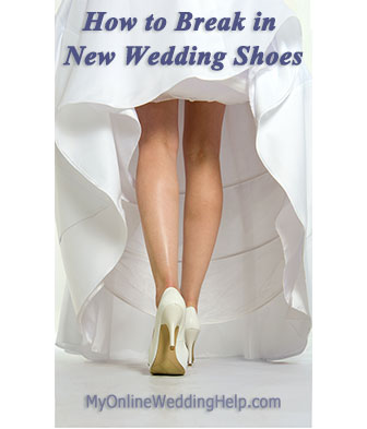 Tips for how to break in wedding shoes the safe way and thoughts on breaking in shoes with a hair dryer, ice, alcohol, and the microwave.